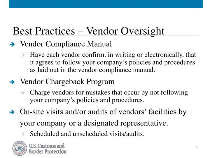 Best Practices – Vendor Oversight
