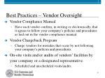 best practices vendor oversight
