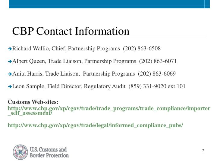 CBP Contact Information