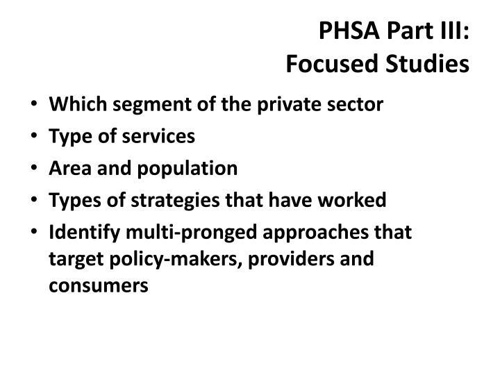 PHSA Part III: