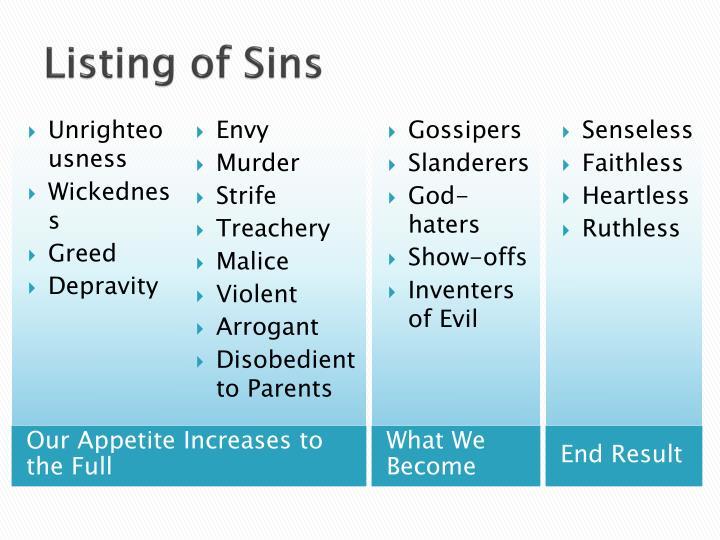 Listing of Sins