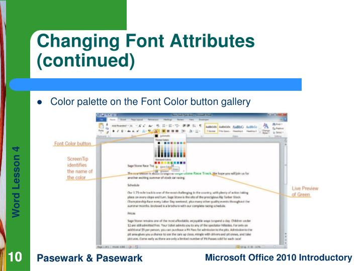 Color palette on the Font Color button gallery