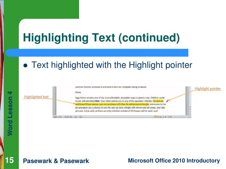 Highlighting Text (continued)