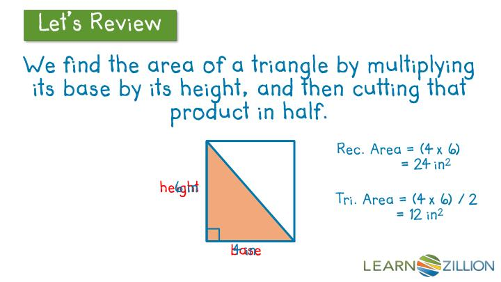 We find the area of a triangle by multiplying its base by its height, and then cutting that product ...