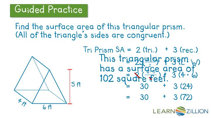 Find the surface area of this triangular prism. (All of the triangle's sides are congruent.)