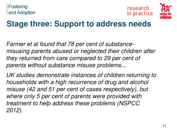 Stage three: Support to address needs