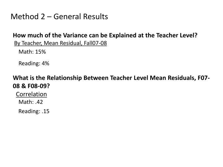 Method 2 – General Results