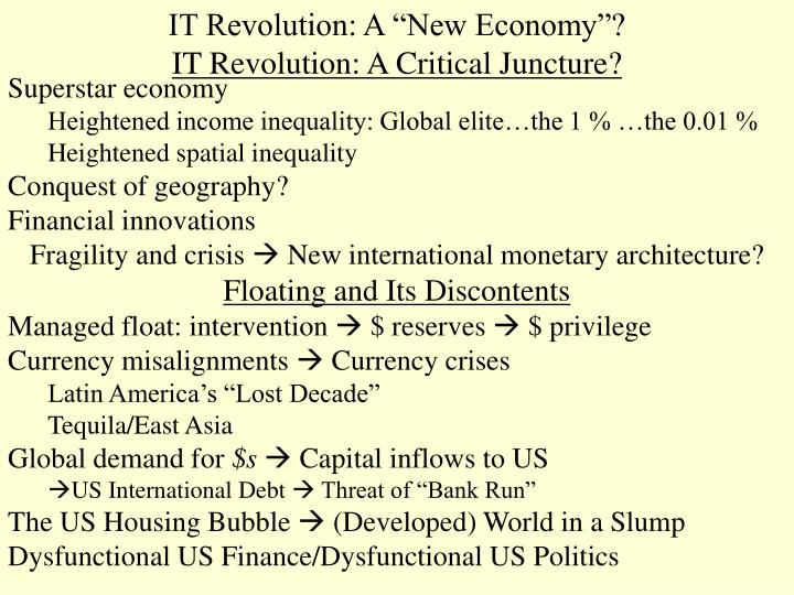 It revolution a new economy it revolution a critical juncture