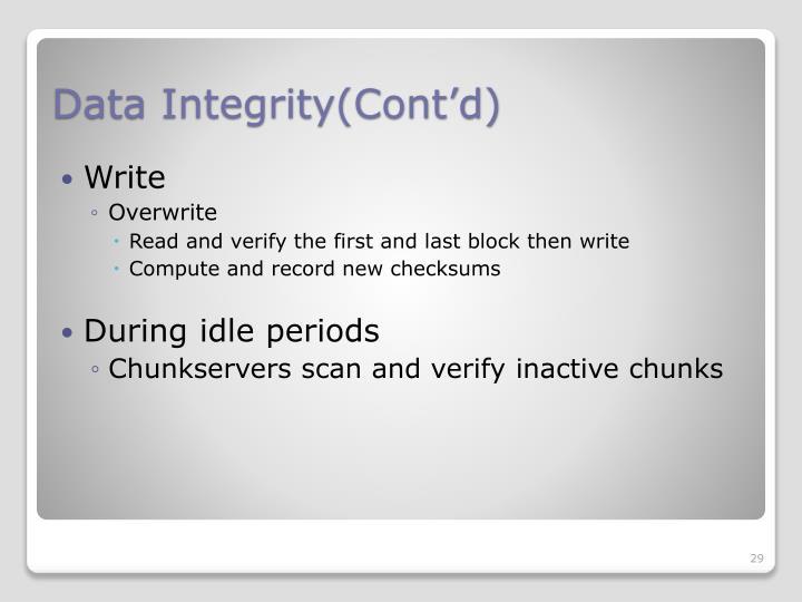 Data Integrity(Cont'd)