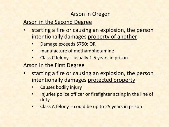 Arson in Oregon