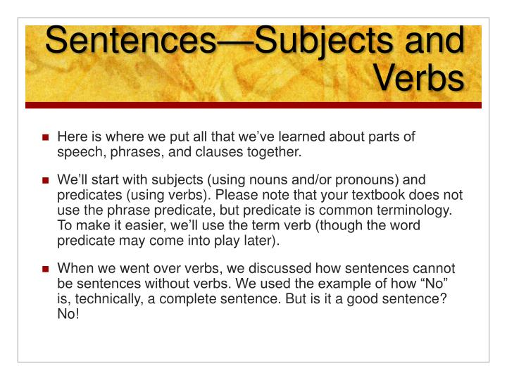 Sentences—Subjects and Verbs