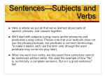 sentences subjects and verbs