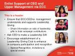 enlist support of ceo and upper management via ecc