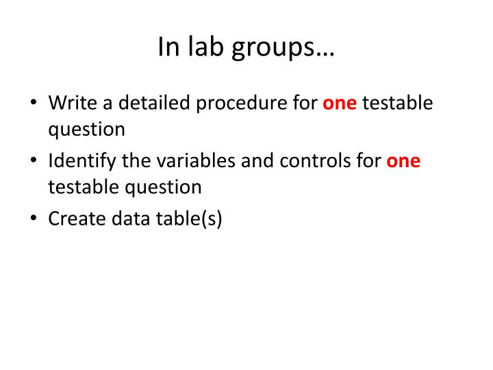 In lab groups…