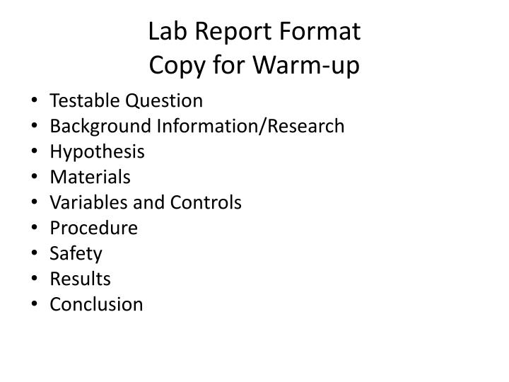 Lab report format copy for warm up