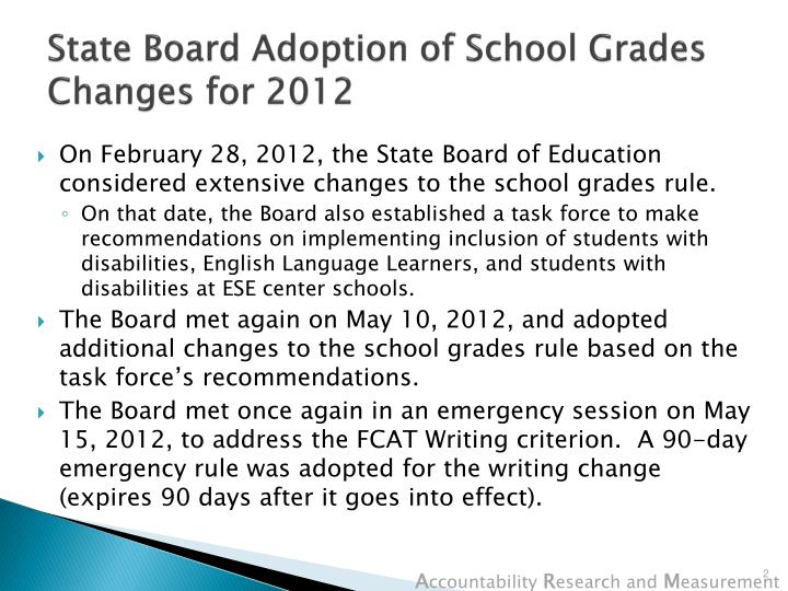 State Board Adoption of School Grades Changes for 2012