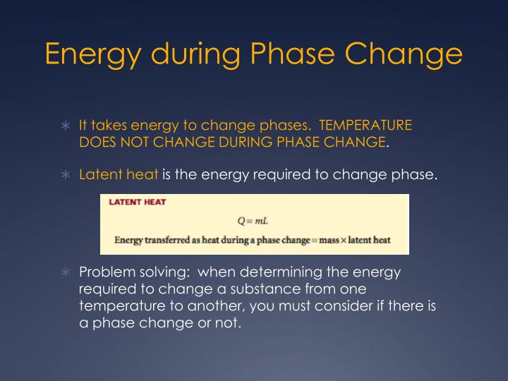 Energy during Phase Change