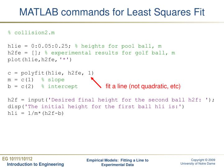 MATLAB commands for Least Squares Fit