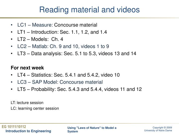 Reading material and videos