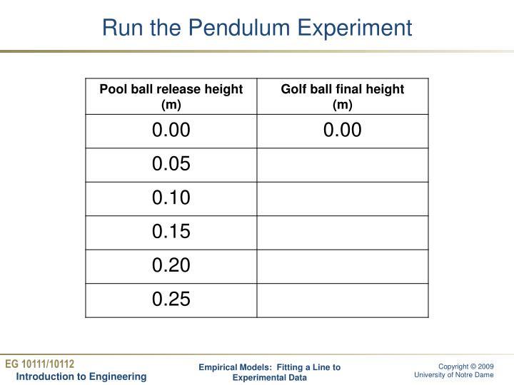 Run the Pendulum Experiment