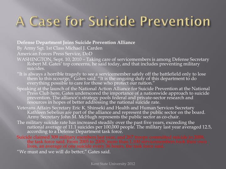 A Case for Suicide Prevention