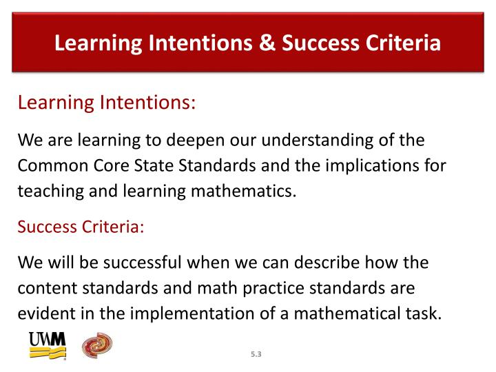 Learning intentions success criteria