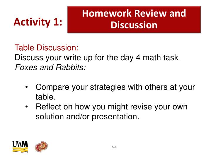 Homework Review and Discussion