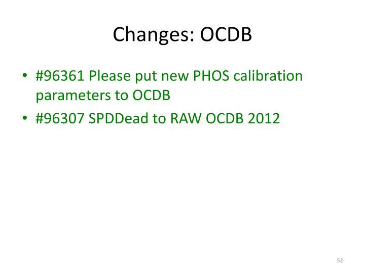 Changes: OCDB