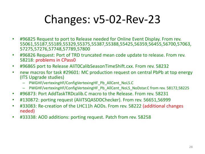 Changes: v5-02-Rev-23