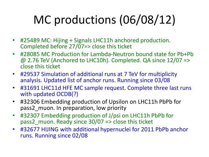 MC productions (06/08/12)
