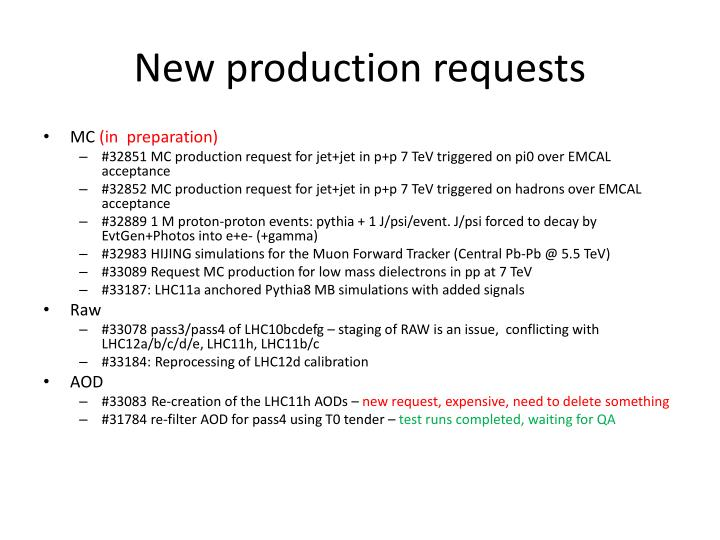 New production requests