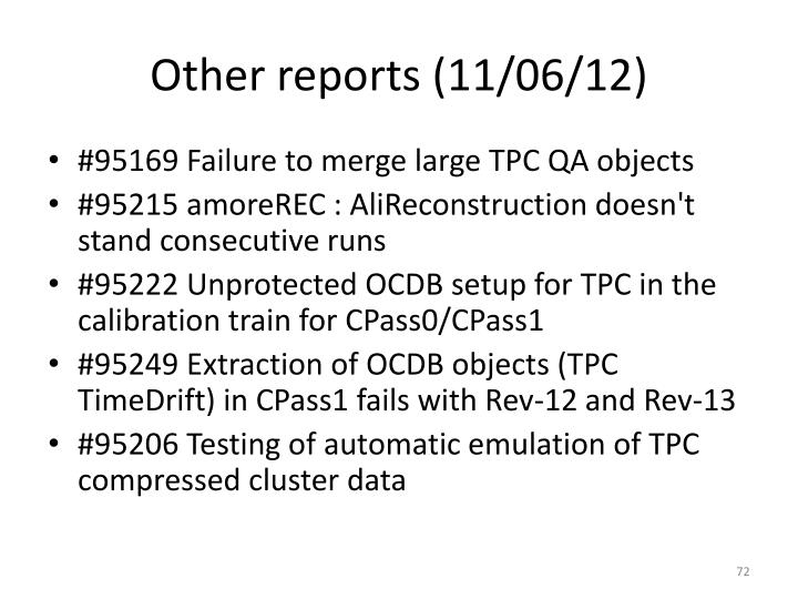 Other reports (11/06/12)
