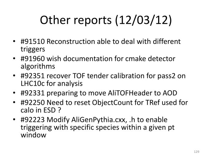Other reports (12/03/12)