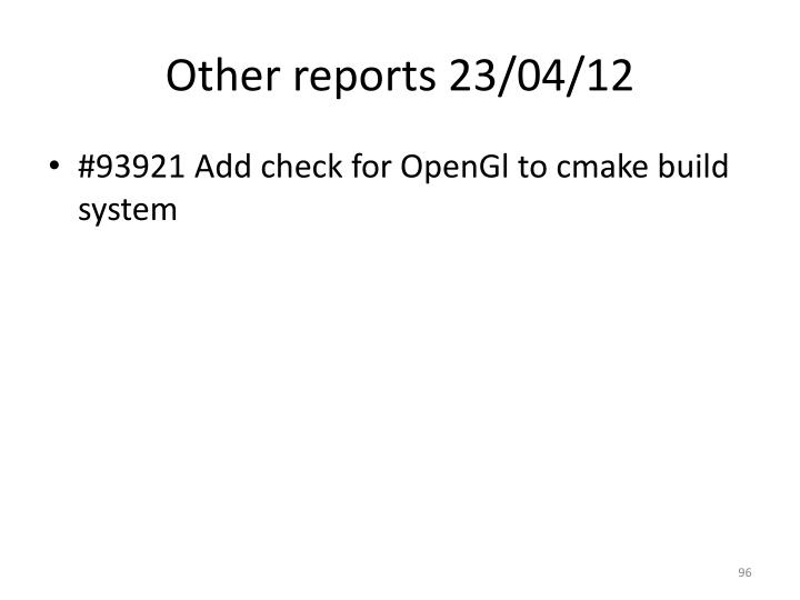 Other reports 23/04/12