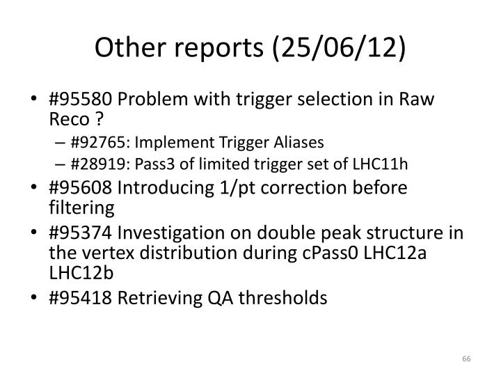 Other reports (25/06/12)