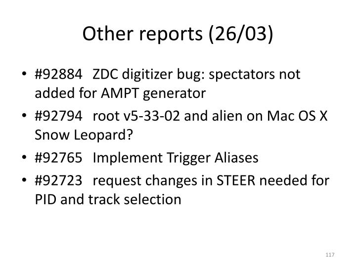 Other reports (26/03)