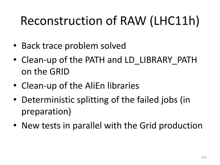 Reconstruction of RAW (LHC11h)