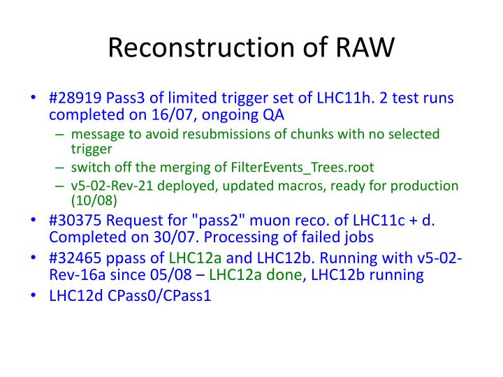 Reconstruction of RAW
