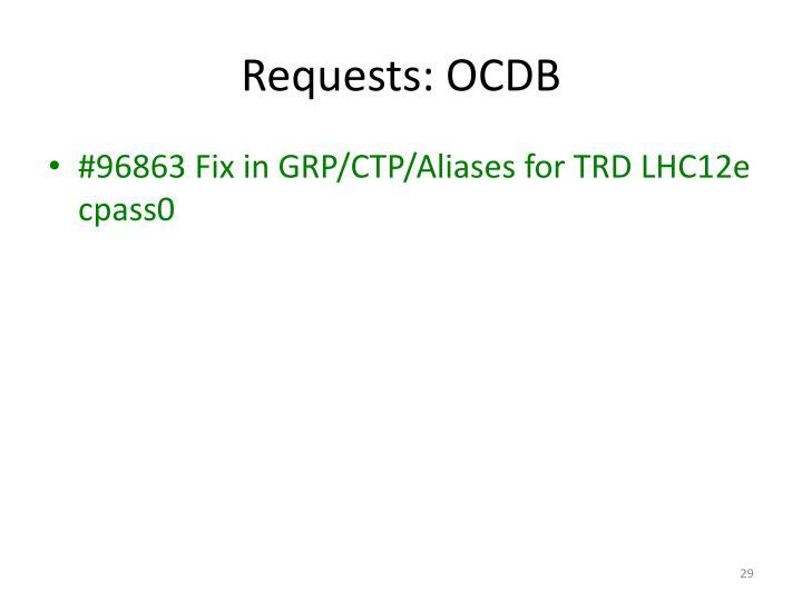 Requests: OCDB