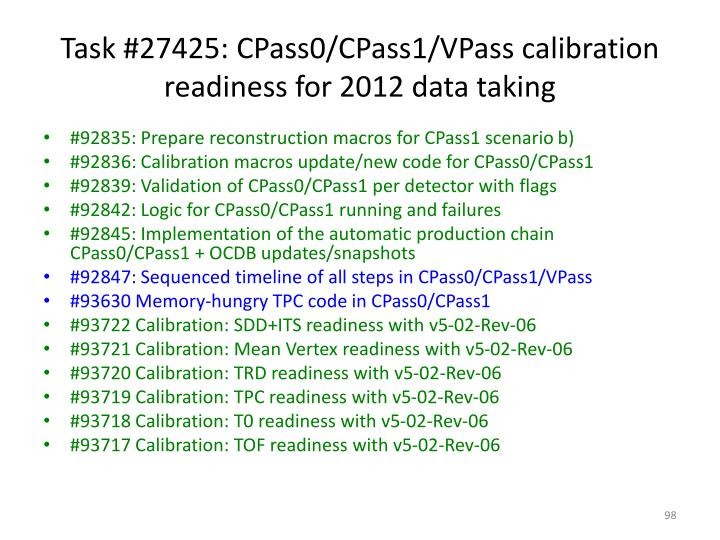 Task #27425: CPass0/CPass1/VPass calibration readiness for 2012 data taking