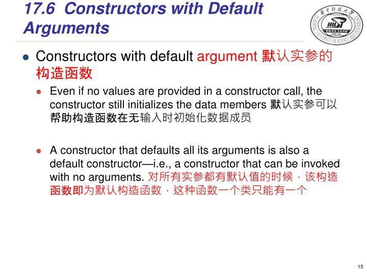 17.6Constructors with Default Arguments