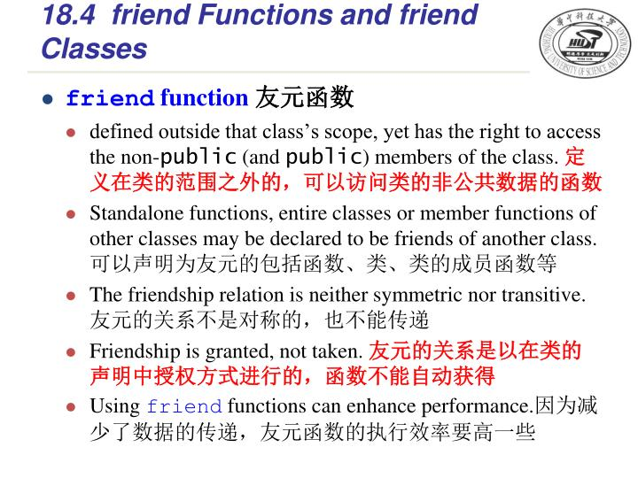 18.4friend Functions and friend Classes
