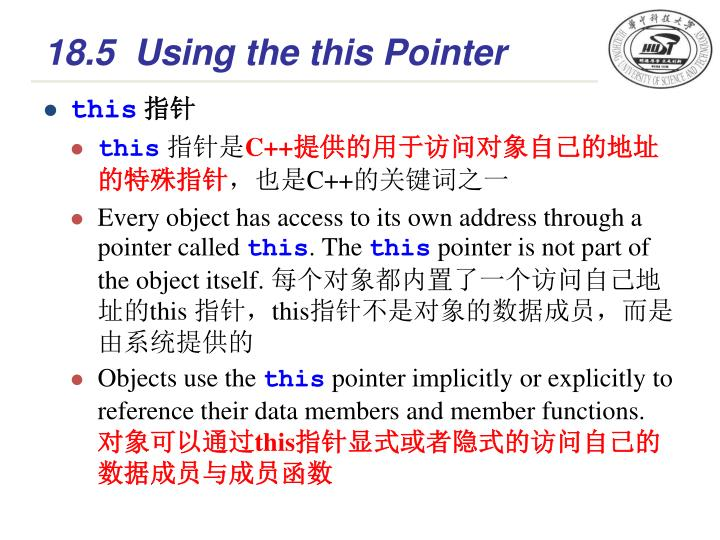 18.5Using the this Pointer
