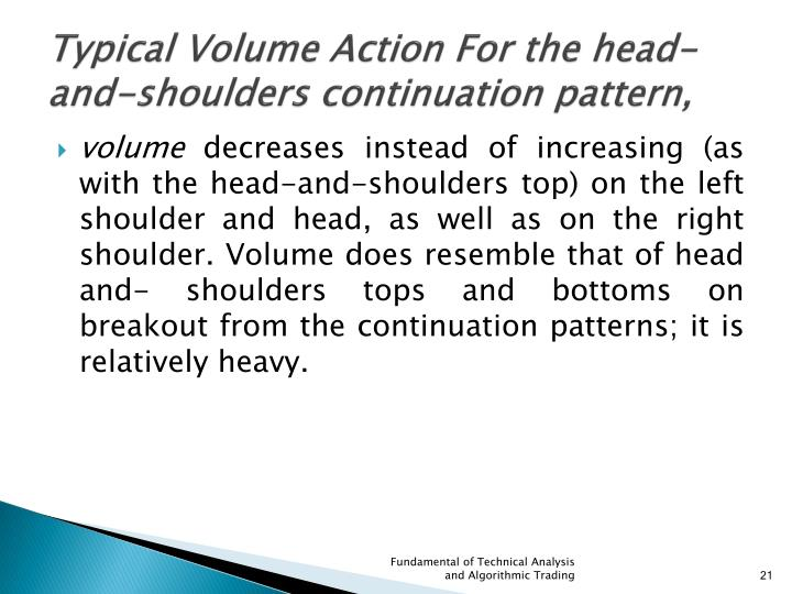 Typical Volume Action For the head-and-shoulders continuation pattern,