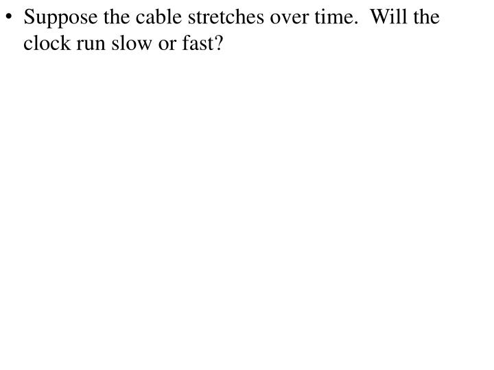 Suppose the cable stretches over time.  Will the clock run slow or fast?