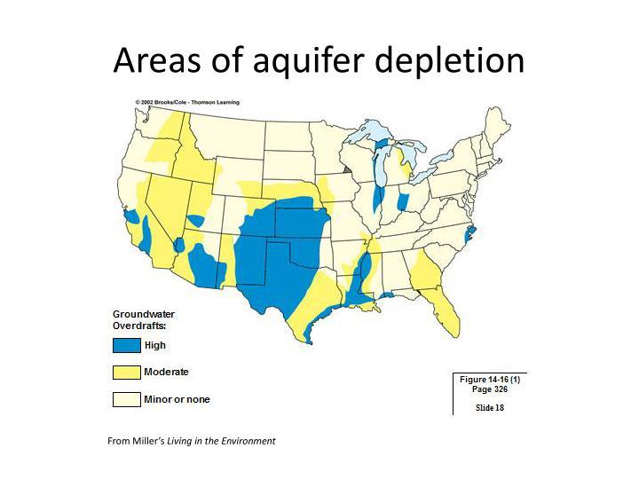 Areas of aquifer depletion