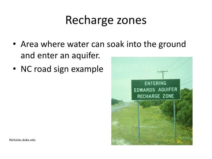 Recharge zones