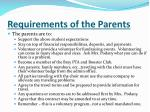 requirements of the parents