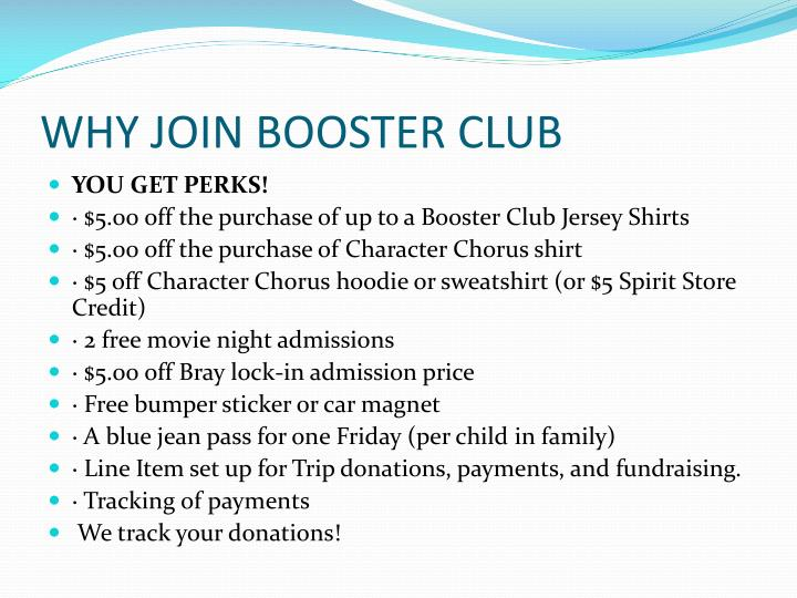 WHY JOIN BOOSTER CLUB