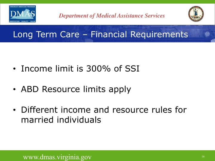 Long Term Care – Financial Requirements